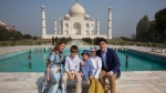 Prime Minister Justin Trudeau, his wife, Sophie Gregoire Trudeau, their sons Hadrien and Xavier, daughter Ella-Grace, second right, pose for the photographs in front of Taj Mahal, in Agra, India, Sunday, Feb. 18, 2018. Prime Minister Justin Trudeau arrived in India on Saturday for a weeklong visit with his family and aimed at enhancing business ties between the two countries. (AP Photo/Manish Swarup)