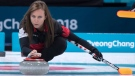 Canada's skip Rachel Homan delivers a shot as they face Switzerland during preliminary round in women's curling at the Pyeongchang 2018 Olympic Winter Games in Gangneung, South Korea, on Sunday, February 18, 2018. THE CANADIAN PRESS/Paul Chiasson