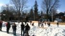 Impromptu hockey with Wideman