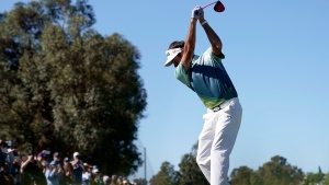 Bubba Watson tees off on the second hole during the final round of the Genesis Open golf tournament at Riviera Country Club, on Sunday, Feb. 18, 2018. (AP Photo/Ryan Kang)