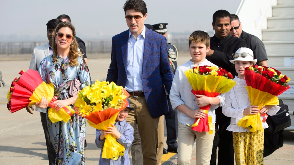 Prime Minister Justin Trudeau, wife Sophie Gregoire Trudeau, and children, Xavier, 10, Ella-Grace, 9, and Hadrien, 3, arrive in Agra, India on Sunday, Feb. 18, 2018. THE CANADIAN PRESS/Sean Kilpatrick