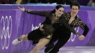 Tessa Virtue and Scott Moir perform during the ice dance, short dance figure skating in the Gangneung Ice Arena at the 2018 Winter Olympics in Gangneung, South Korea on Monday, Feb. 19, 2018. (AP Photo/Julie Jacobson)