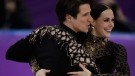 Tessa Virtue and Scott Moir of Canada perform during the ice dance, short dance figure skating in the Gangneung Ice Arena at the 2018 Winter Olympics in Gangneung, South Korea, Monday, Feb. 19, 2018. (AP Photo/Bernat Armangue)