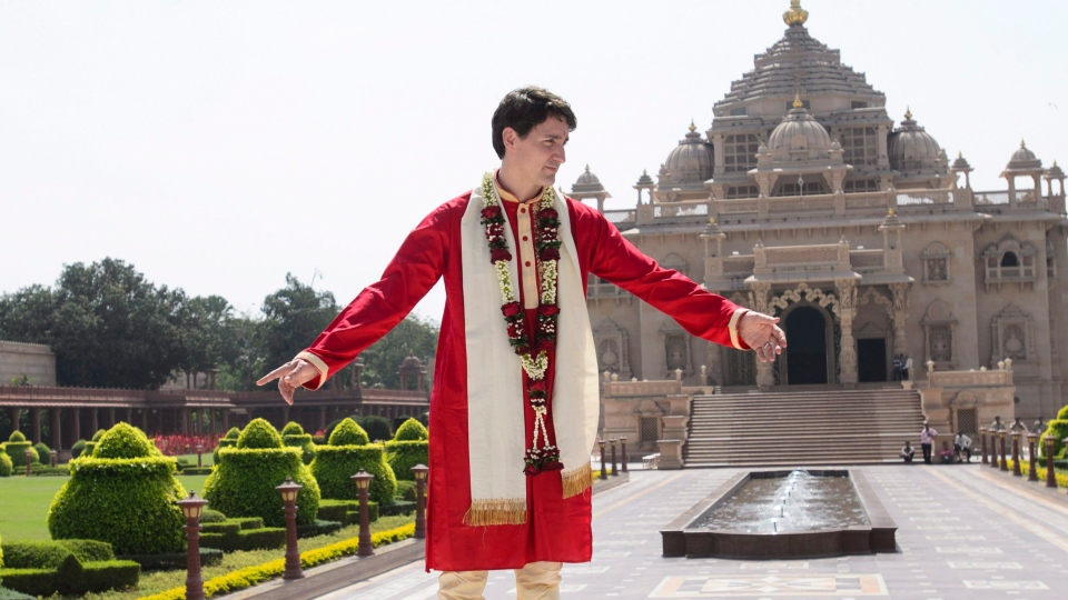 Prime Minister Justin Trudeau visits Swaminarayan Akshardham Temple in Ahmedabad, India on Monday, Feb. 19, 2018. THE CANADIAN PRESS/Sean Kilpatrick
