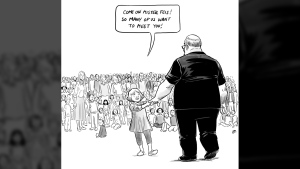 "Vancouver artist Pia Guerra's cartoon ""Hero's Welcome"" shows Florida shooting victim Aaron Feis in this undated handout image. A Vancouver illustrator says she's overwhelmed by the social media response to her cartoon depicting the victim of the recent school shooting in Florida. Pia Guerra's ""Hero's Welcome"" shows a young girl leading football coach Aaron Feis by the hand to meet a crowd of other people killed in school shootings. (THE CANADIAN PRESS / HO - Pia Guerra)"