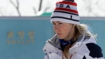 United States' Mikaela Shiffrin arrives for a women's downhill training run at the 2018 Winter Olympics in Jeongseon, South Korea, Monday, Feb. 19, 2018. (AP Photo/Michael Probst)