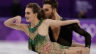 Gabriella Papadakis and Guillaume Cizeron of France perform during the ice dance, short dance figure skating in the Gangneung Ice Arena at the 2018 Winter Olympics in Gangneung, South Korea, Monday, Feb. 19, 2018. (AP Photo/Julie Jacobson)