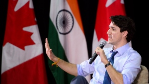 Prime Minister Justin Trudeau takes part in an armchair discussion at the Indian Institute of Management in Ahmedabad, India on Monday, Feb. 19, 2018. THE CANADIAN PRESS/Sean Kilpatrick