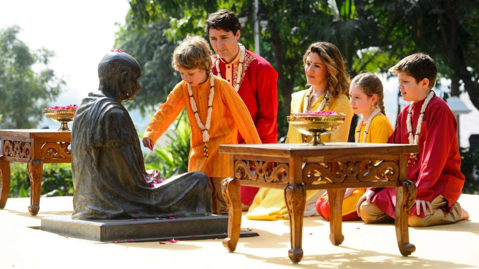 Prime Minister Justin Trudeau and wife Sophie Gregoire Trudeau, and children, Xavier, 10, Ella-Grace, 9, and Hadrien, 3, visit Sabarmati Ashram (Gandhi Ashram) in Ahmedabad, India on Monday, Feb. 19, 2018. THE CANADIAN PRESS/Sean Kilpatrick