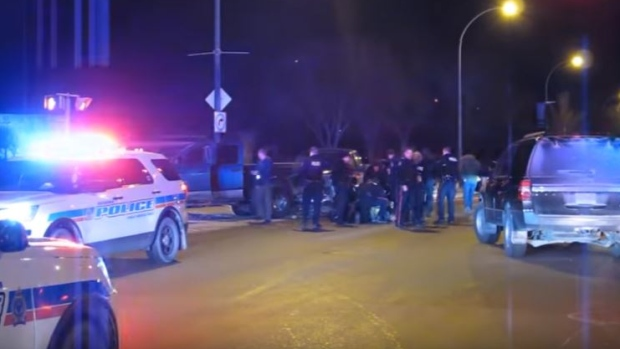 Regina police arrest a man on Feb. 18, 2018 (Supplied: Alex Cogger)