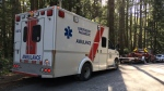 First responders set up near Mount Finlayson after a hiker injured her ankle near the mountain's summit. Feb. 19, 2018. (CTV Vancouver Island)