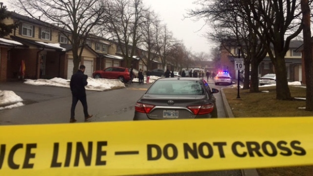 Peel Regional Police at the scene of a shooting in Brampton on Feb. 19, 2018.
