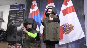 Families tried on authentic military gear