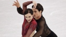 Scott Moir and Tessa Virtue of Canada perform in the ice dance free dance figure skating team event in the Gangneung Ice Arena at the 2018 Winter Olympics in Gangneung, South Korea, Monday, Feb. 12, 2018. (AP / Bernat Armangue)