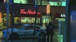 Three people were stabbed inside the Tim Hortons.
