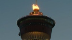 The Olympic torch atop the Calgary Tower during the celebration of a Canadian gold medal during the PyeongChang Olympic Games