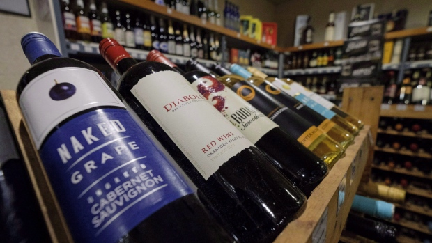 Bottles of British Columbia wine on display at a liquor store in Cremona, Alta., Wednesday, Feb. 7, 2018. THE CANADIAN PRESS/Jeff McIntosh