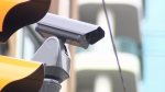 A surveillance camera is pictured on Granville Street in Vancouver.
