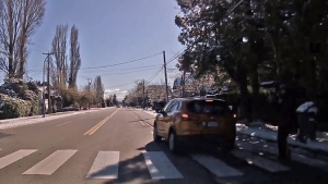 Dash cam captures near miss with pedestrian
