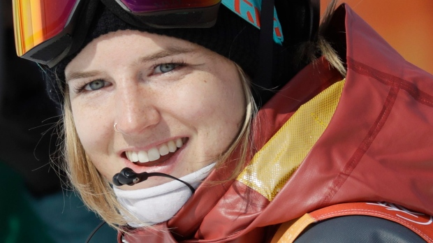 Cassie Sharpe, of Canada, waits for her score following a run during the women's halfpipe final at Phoenix Snow Park at the 2018 Winter Olympics in Pyeongchang, South Korea, Tuesday, Feb. 20, 2018. (AP Photo/Kin Cheung)