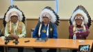 Chief Craig Makinaw, Chief Joseph Weasel Child and Chief Daniel Starchief (l to r) address the media during Monday's call for improvements to the child welfare system