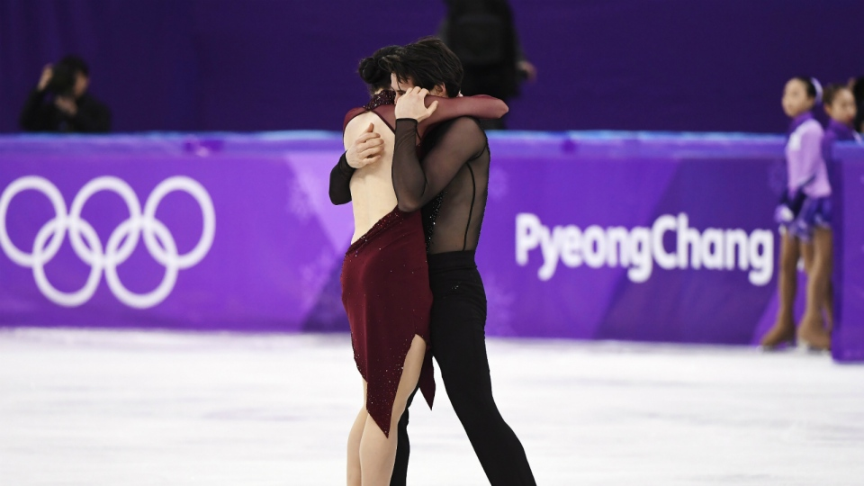 Tessa Virtue and Scott Moir of Canada react following the ice dance figure skating free dance at the Pyeongchang Winter Olympics in Gangneung, South Korea on Tuesday, Feb. 20, 2018. THE CANADIAN PRESS/Paul Chiasson