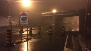 A section of northbound Bayview Avenue is closed due to flooding on Tuesday morning. (Mike Nguyen/ CP24)