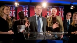 Ontario Conservative leadership candidate Patrick Brown takes to the stage to address supporters and the media in Toronto on Sunday February 18, 2018. The former party leader resigned his position after sexual misconduct allegations, only to re-enter race for his vacated position after refuting the allegations. THE CANADIAN PRESS/Chris Young