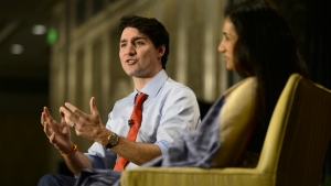 Prime Minister Justin Trudeau takes part in an armchair discussion with Chanda Kochhar, Managing Director and CEO of ICICI Bank Limited, during the Canada-India Mumbai Business Forum in Mumbai, India on Tuesday, Feb. 20, 2018. THE CANADIAN PRESS/Sean Kilpatrick