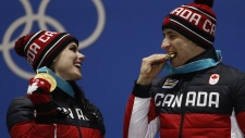Tessa Virtue and Scott Moir at the medals ceremony