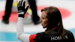 Canada's skip Rachel Homan during a curling match against China at the 2018 Winter Olympics, on Feb. 20, 2018. (Natacha Pisarenko / AP)