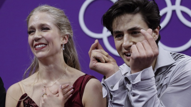 Kaitlyn Weaver and Andrew Poje get their scores