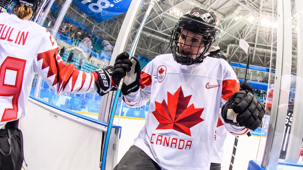 Meaghan Mikkelson exits the rink