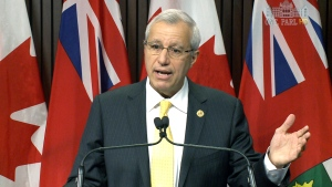 Interim Ontario PC Leader Vic Fedeli speaks to reporters at Queen's Park in Toronto, Tuesday, Feb. 20, 2018.