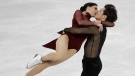 Tessa Virtue and Scott Moir of Canada perform at the 2018 Winter Olympics in Gangneung, South Korea, Feb. 20, 2018. (AP/Bernat Armangue)
