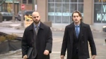 Michael Theriault and his brother Christian Theriault are seen arriving at court.