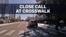 Dashcam footage shows SUV nearly hit pedestrian