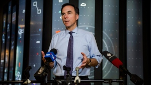 Minister of Finance Bill Morneau speaks to media after meeting with private sector economists, in Toronto on Friday, February 16, 2018. THE CANADIAN PRESS/Christopher Katsarov