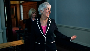 Finance Minister Carole James arrives at caucus before delivering the budget from the legislative assembly at Legislature in Victoria, B.C., on Tuesday, February 20, 2018. THE CANADIAN PRESS/Chad Hipolito