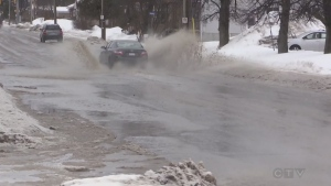 Mild temperatures make for many watery roads