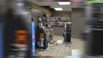 Damage to the Penhold Fas Gas, including damage to the ATM and ceiling, following a break-in on Monday, February 19 (RCMP)