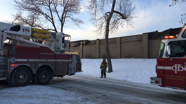 CFD members outside of Fairview Community Hall following Tuesday afternoon's roof collapse