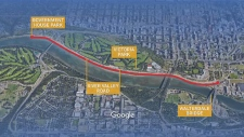 A map outlines the two kilometre stretch where the proposed promenade would be.