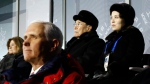 FILE - In this Feb. 9, 2018 file photo, Kim Yo Jong, top right, sister of North Korean leader Kim Jong Un, sits alongside North Korea's nominal head of state Kim Yong Nam, and behind U.S. Vice President Mike Pence as she watches the opening ceremony of the 2018 Winter Olympics in Pyeongchang, South Korea. (AP Photo/Patrick Semansky)