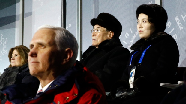 Mike Pence seated in front of Kim Yo Jong
