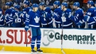 Toronto Maple Leafs left wing James van Riemsdyk (25) celebrates his goal during first period NHL action against the Florida Panthers, in Toronto, on Tuesday, February 20, 2018. THE CANADIAN PRESS/Christopher Katsarov