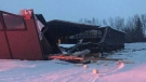 Building with collapsed roof at Bradon Equestrian in Springbank