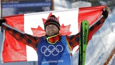 Gold medal winner Brady Leman celebrates after the men's ski cross final at Phoenix Snow Park at the 2018 Winter Olympics in Pyeongchang, South Korea on Wednesday, Feb. 21, 2018. (AP Photo/Lee Jin-man)