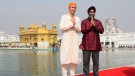Prime Minister Justin Trudeau and Minister of National Defence Minister Harjit Singh Sajjan visit the Golden Temple in Amritsar, India on Wednesday, Feb. 21, 2018. (THE CANADIAN PRESS/Sean Kilpatrick)