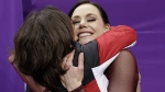 Tessa Virtue, right, in the Gangneung Ice Arena on Feb. 20, 2018. (David J. Phillip / AP)